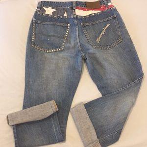 VTG Tommy Hilfiger American Flag Jeans Altered